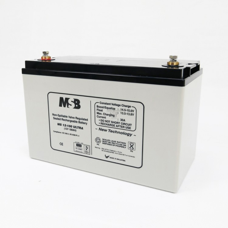 MSB MS12-100 Ultra 12V 100AH Non-Spillable Valve Regulated Sealed Rechargeable Lead Battery