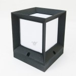 8836 160mm Modern E27 Outdoor Gate Lamp Cube Shape For Pole / Pillar (Sand Black)