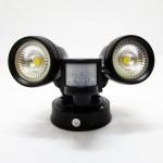 E-TEN 2 x 10W Double Head COB LED Flood Light (Black) c/w PIR Motion Sensor