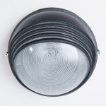 1017L E27 Bulkhead/Weatherproof Fitting Round (Black)