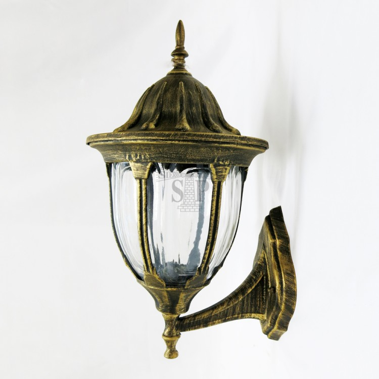 02M E27 Classic Outdoor Wall Gate Lamp (Antique Gold With Clear Glass)